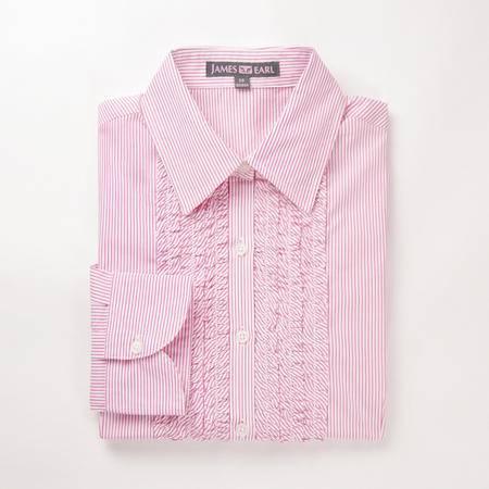 占姆士女士春秋正装时尚条纹玫红长袖衬衫