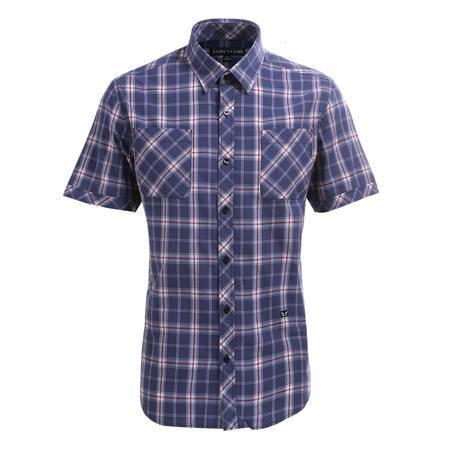 占姆士夏季男士休闲双口袋纯棉蓝灰格纹短袖衬衫