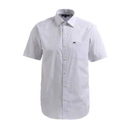 占姆士男士夏装单口袋黑色格纹短袖衬衫