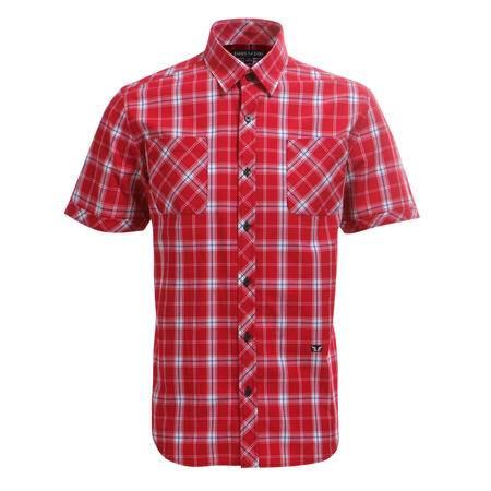 占姆士夏季男士休闲短袖衬衣双口袋格纹红色衬衫