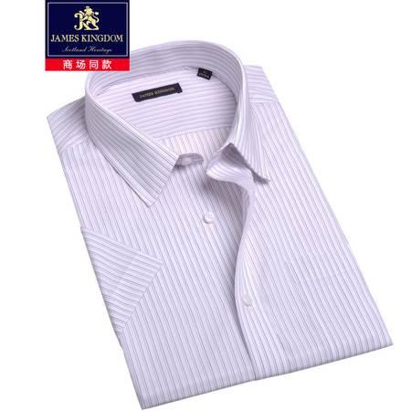占姆士James kingdom男夏短袖中青年条纹衬衫时尚休闲BA0330667