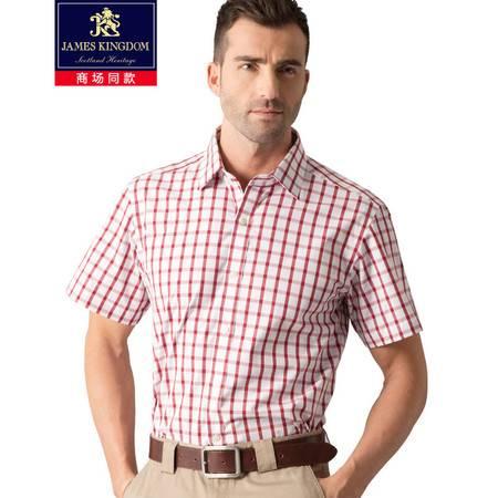 占姆士JamesKingdom专柜同款男士夏季短袖格纹舒适衬衫