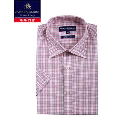 占姆士jameskingdom男短条纹袖衬衫高支液氨免烫衬衫