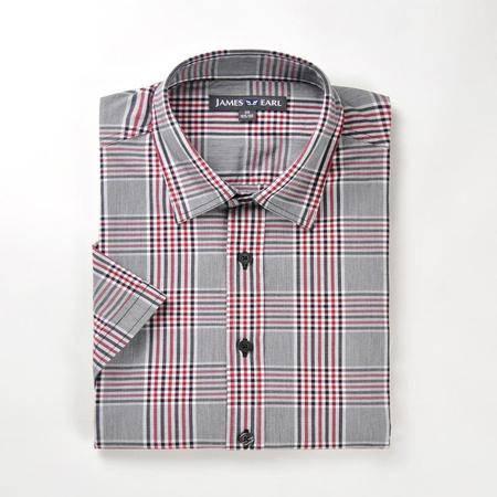 占姆士男士休闲纯棉格纹休闲短袖衬衫