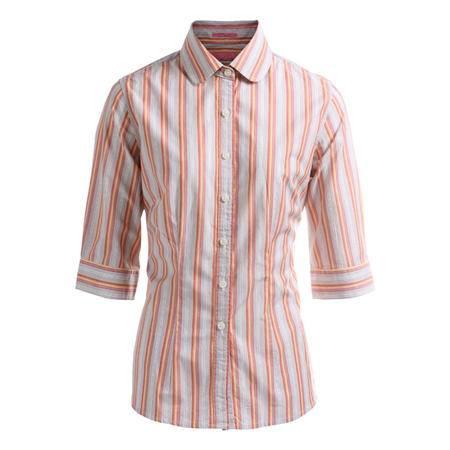 占姆士女装夏季休闲舒适条纹甜美修身中袖衬衫