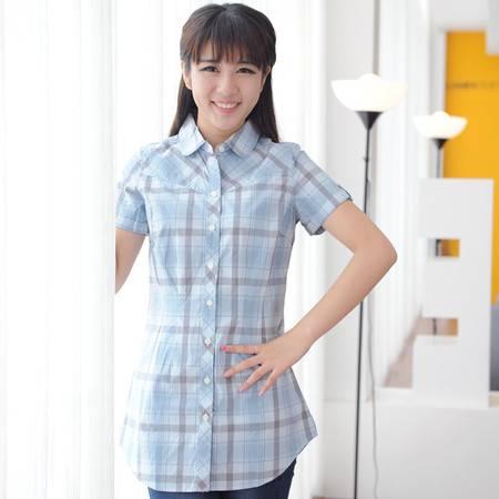 占姆士夏季女装短袖衬衣休闲格纹时尚舒适纯棉衬衫