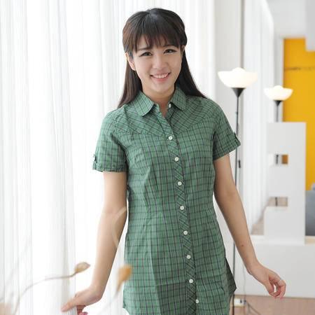 占姆士夏季女士短袖衬衣休闲格纹纯棉时尚墨绿衬衫