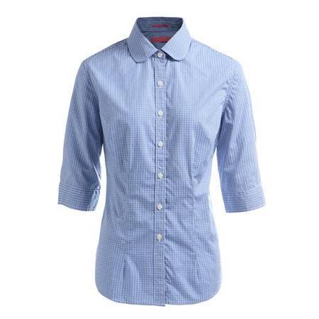 占姆士夏季女甜美休闲格纹衬衣纯棉舒适蓝色中袖衬衫