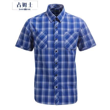 占姆士男士夏季休闲短袖时尚格纹青年双口袋蓝色棉质衬衫