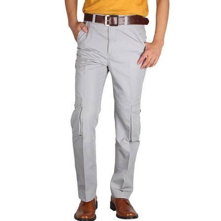 占姆士男士休闲时尚口袋直筒灰色棉质长裤