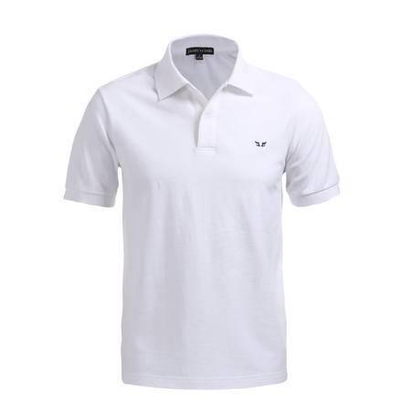 占姆士男士夏季纯棉舒适透气短袖白色POLO衫