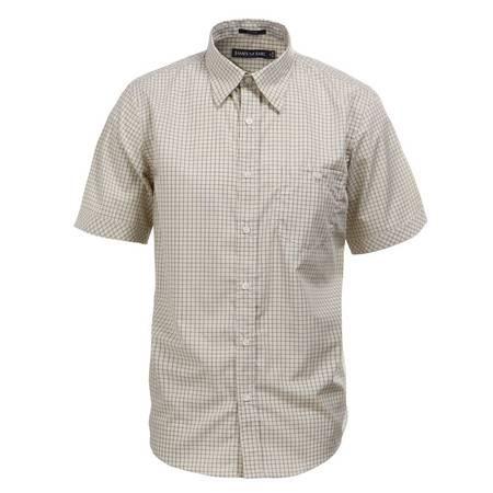 占姆士夏季男士休闲纯棉黄色短袖衬衫