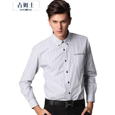 占姆士男士秋季新款棉质时尚商务条纹长袖衬衫