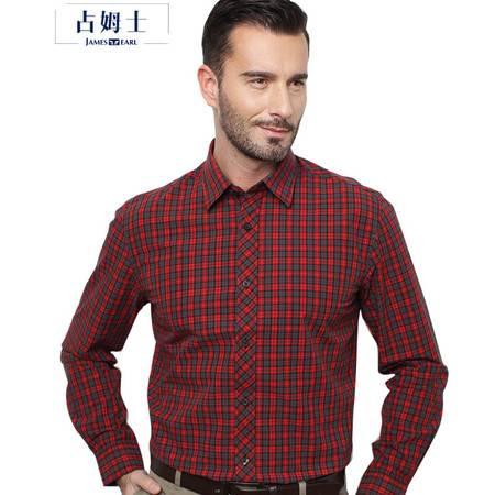 占姆士男士格子长袖衬衫中青年纯棉磨毛商务休闲衬衣