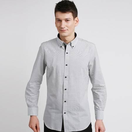 占姆士新款男士时尚全棉商务衬衫男式黑白条纹衬衣韩版超修身