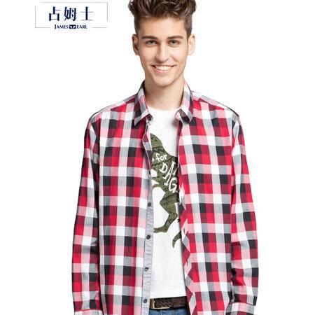 占姆士春秋男士新款休闲纯棉长袖格子衬衫