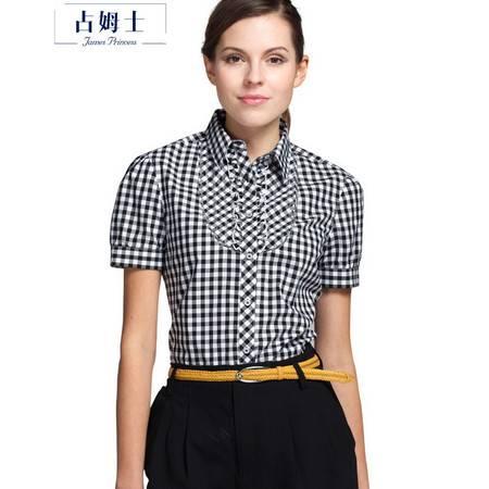 占姆士夏季新品女士衬衫OL韩版泡泡袖衬衣修身PA273069
