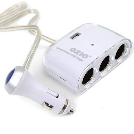 奥舒尔/OZIO EF32白色豪华版一分三点烟器带USB接口