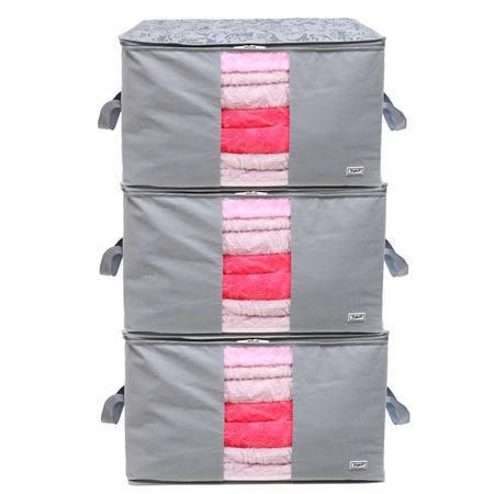毕加索 竹碳纤维 加高型 90升视窗型棉被袋 收纳袋 衣物整理袋 三入组盒 PS-2322