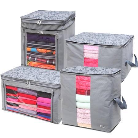 毕加索 竹碳纤维 无纺布增高型衣物收纳箱 收纳袋 衣物整理箱 四入组合
