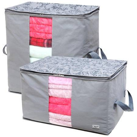 毕加索 竹碳纤维 视窗型衣物收纳袋 棉被袋 收纳袋 衣物整理袋 二入组合