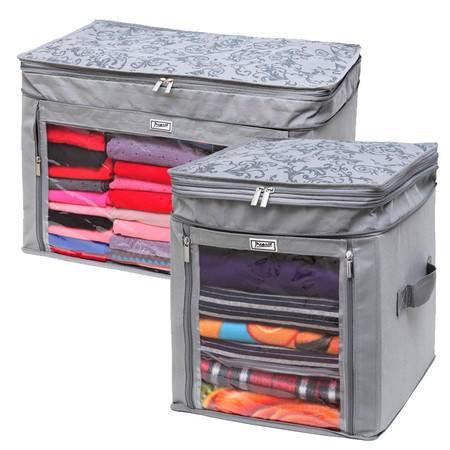 毕加索 竹碳纤维 无纺布调整增高型衣物收纳箱 收纳袋 衣物整理箱 二件组合-