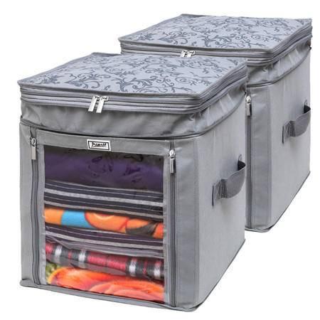 毕加索 PS-2310 竹碳纤维增高型衣物收纳箱二件组--