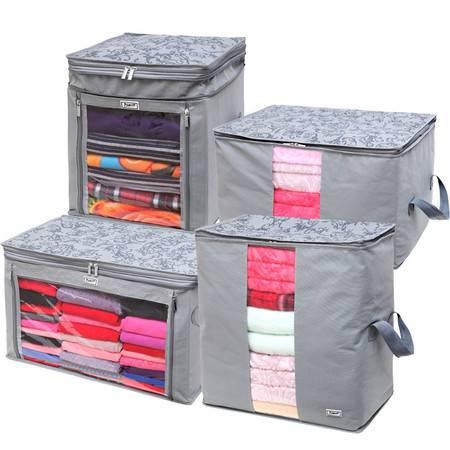 毕加索 竹碳纤维 无纺布增高型衣物收纳箱 收纳袋 衣物整理箱 四入组合-
