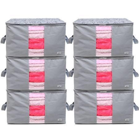 毕加索 竹碳纤维 加高型 90升视窗型棉被袋 收纳袋 衣物整理袋 六入组合 PS-2322-【复制】