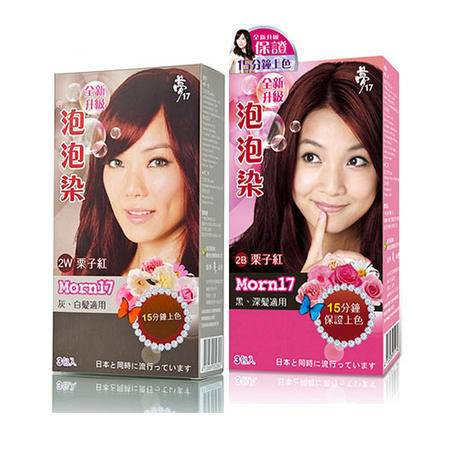 台湾原装进口 梦17 泡泡染染发剂染发膏 三包入2W栗子红+2B栗子红 2盒装