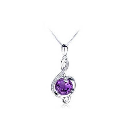金世玉正品 音符 纯天然紫水晶宝石吊坠项坠 女 925银项链