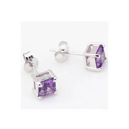 金世玉 925银勇气  镀白金耳坠  镶纯天然 紫水晶 耳钉耳饰