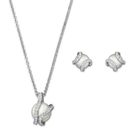 施华洛世奇(Swarovski) Nude 水晶珍珠项链 耳钉 套装 1081922