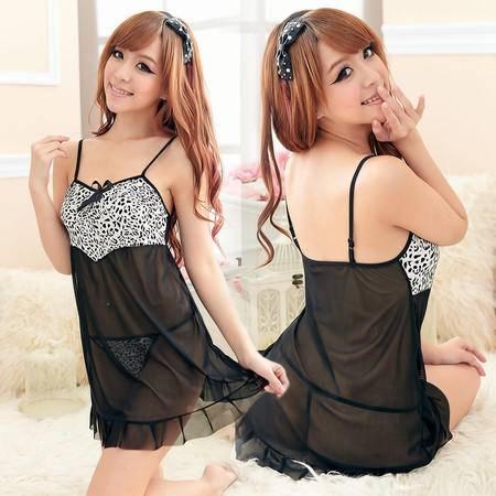 包邮 优质吊带豹纹性感睡裙 透明薄纱情趣内衣8074