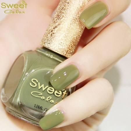 满百包邮 SweetColor 环保指甲油 糖果色漆光 显白 脚趾甲油 橄榄绿色S284 12ML