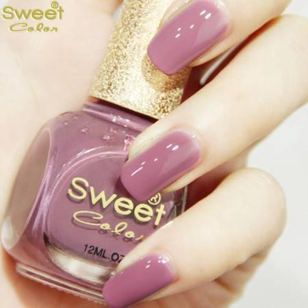 满百包邮 Sweet Color环保指甲油 漆光实色 手脚涂 藕粉色S150 12ML