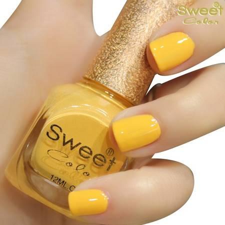 满百包邮 Sweet Color环保指甲油 糖果色漆光实色 黄色 幸福太阳花S318 12ML