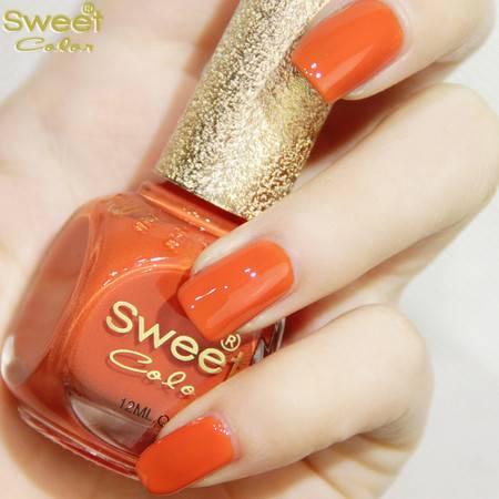 满百包邮 SweetColor环保指甲油 夏糖果橘红色S312 手脚涂显白 心跳的力量 12ML