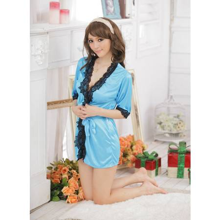 女士性感内衣套装8130 均码缎面浴袍睡衣 家居服罩衫 配丁字裤