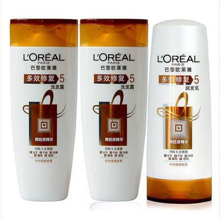 L'OREAL/欧莱雅 洗发水 套装 多效修复洗发露 400ml/2支+润发乳400ml