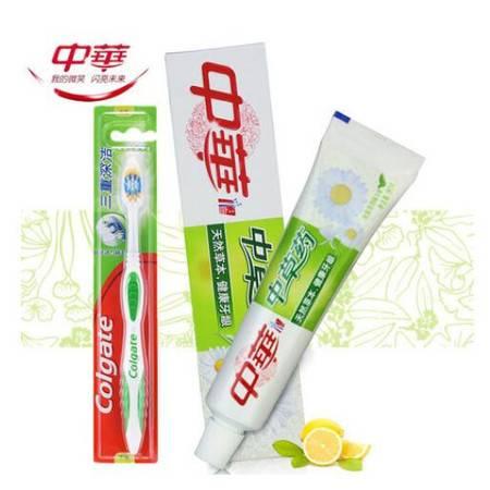 包邮 中华牙膏 双钙防蛀 健康牙龈 冰爽清凉味中草药牙膏 +高露洁牙刷1支