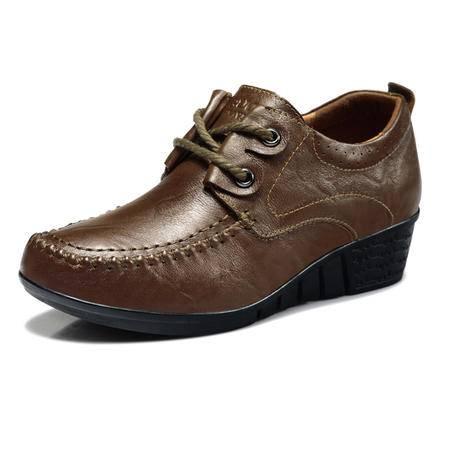 古奇天伦 厚底真皮女鞋头层牛皮秋季单鞋坡跟低帮休闲