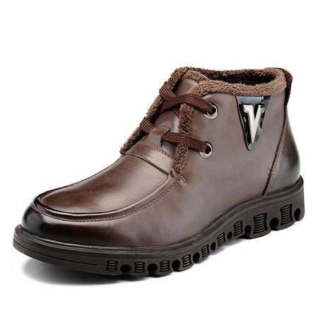 高帮鞋男鞋新款时尚保暖鞋真皮男士休闲鞋