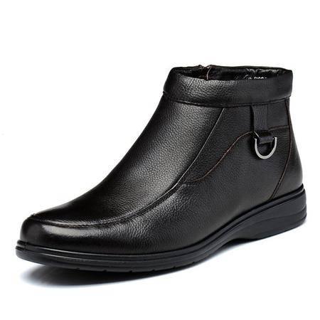 高帮鞋新款时尚休闲男士真皮保暖皮靴男鞋