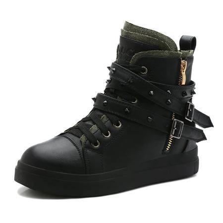 古奇天伦  铆钉女鞋 高帮休闲鞋 皮带板鞋子