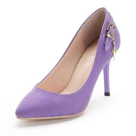 王菲儿新款春夏三色细跟时尚扣浅口单根鞋