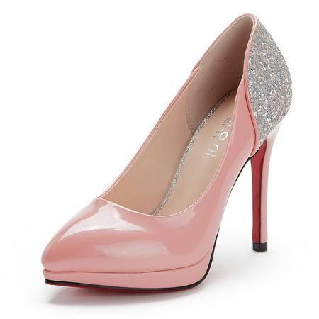 王菲儿性感百搭纯色漆皮高跟鱼嘴女鞋简约浅口细跟单鞋