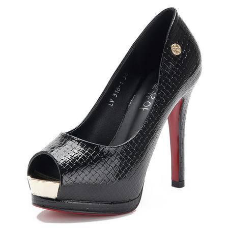 王菲儿2014春夏新款百搭纯色细跟高跟鞋鱼嘴金属高跟鞋单鞋女鞋子