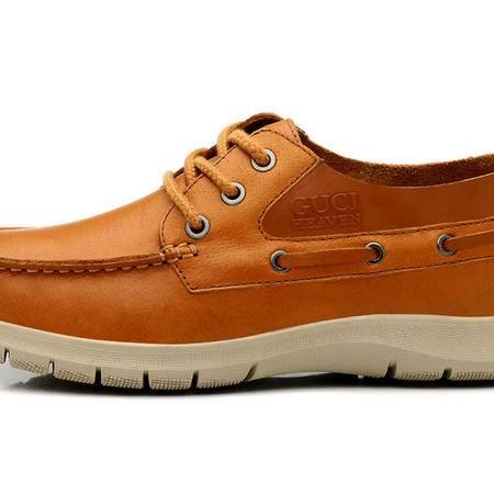 古奇天伦 新款热销日常休闲男鞋 头层牛皮休闲鞋 帆船鞋子