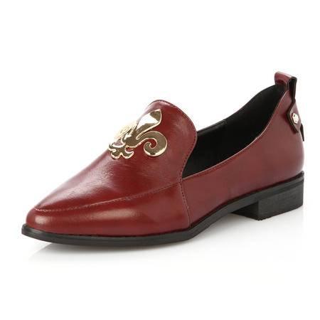 王菲儿2014春季平跟尖头平底鞋潮新款黑色单鞋
